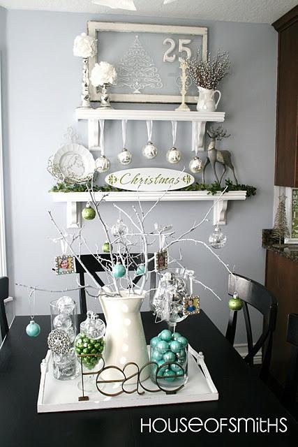 Love so many elementsDining Room, Silver Christmas, Christmas Decor Ideas, Christmas Decorations, Blue Green, White Christmas, Windows, Holiday Decor, Diy Christmas