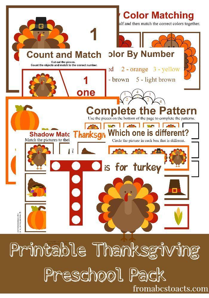 Printable Thanksgiving Preschool Pack for toddlers and preschoolers. Preschool, homeschool activities. Printable Thanksgiving toddler activities.