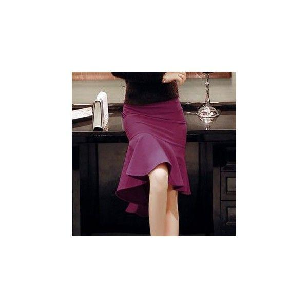 Peplum Pencil Skirt ($40) ❤ liked on Polyvore featuring skirts, women, peplum skirt, purple pencil skirt, purple skirt, pencil skirt and knee length pencil skirt