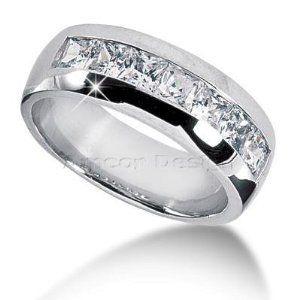 White Gold Men's Princess Cut Diamond Wedding Band