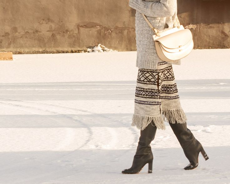 That bag, those boots.  knits on knits | The Boyish Girl Blog