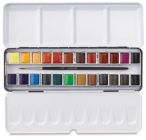 Sennelier makes wonderful watercolors- some of the best. It is said that they are the only brand who's tubes and pans are the same formula. Sennelier watercolors are also honey-based, unlike other brands which are water-based. They make beautiful tiny sets, as well as large sets