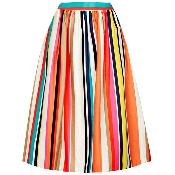 Womens Midi Skirts Alice + Olivia Nikola Striped Stretch Cotton Midi... found on Polyvore featuring skirts, multi colored skirt, alice olivia skirt, stripe midi skirt, colorful skirts and stripe skirt