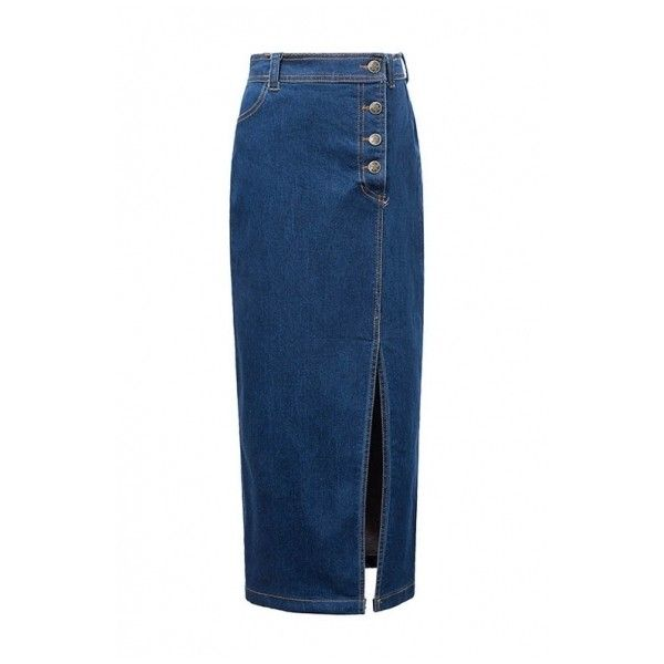 High Waist Button Fly Split Side Tube Maxi Denim Skirt (€21) ❤ liked on Polyvore featuring skirts, long blue maxi skirt, long denim maxi skirt, long blue skirt, blue denim skirt and long maxi skirts