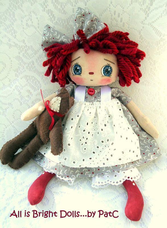 Raggedy Annie Doll, Annie and Mr. Teddy Bear, Prim Rag Doll, Whimsical Doll, Country Prim Decor, Handpainted Doll, 11 inch doll, by Allisbright on Etsy