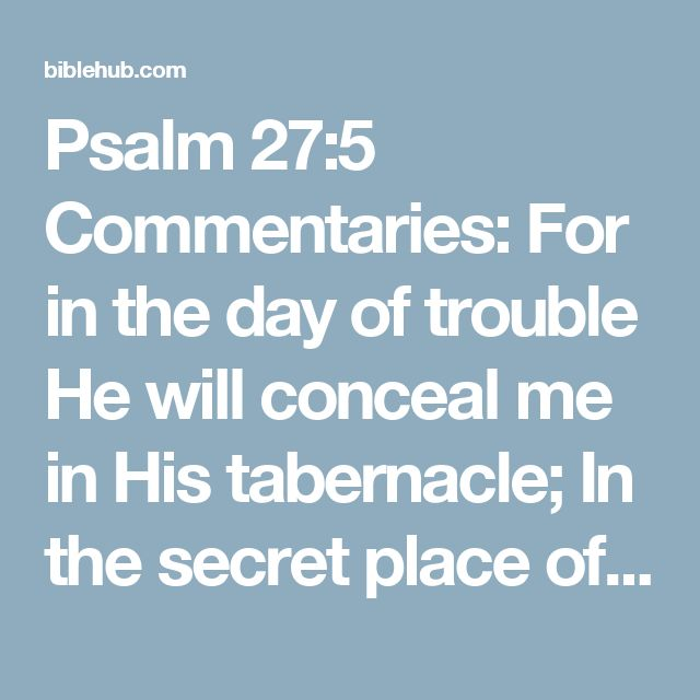 Psalm 27:5 Commentaries: For in the day of trouble He will conceal me in His tabernacle; In the secret place of His tent He will hide me; He will lift me up on a rock.