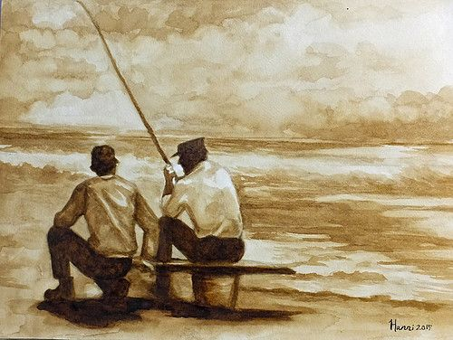 """""""The Old Days"""" by Hanni painted with coffee #coffee #artwork #painting"""