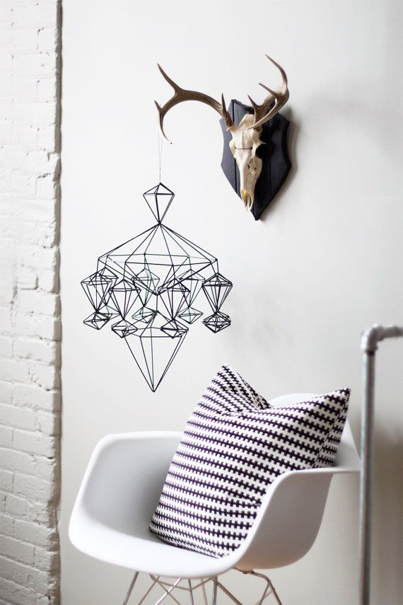 himmeli no. 8 - hanging mobile - modern mobile - sculpture - geometric - black - finnish design - home decor. $143.00, via Etsy.