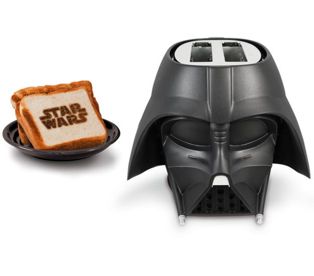 A Darth Vader toaster that burns the Star Wars logo into the side of your bread.
