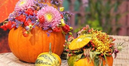 small punpkins carved out to hold flower arrangements