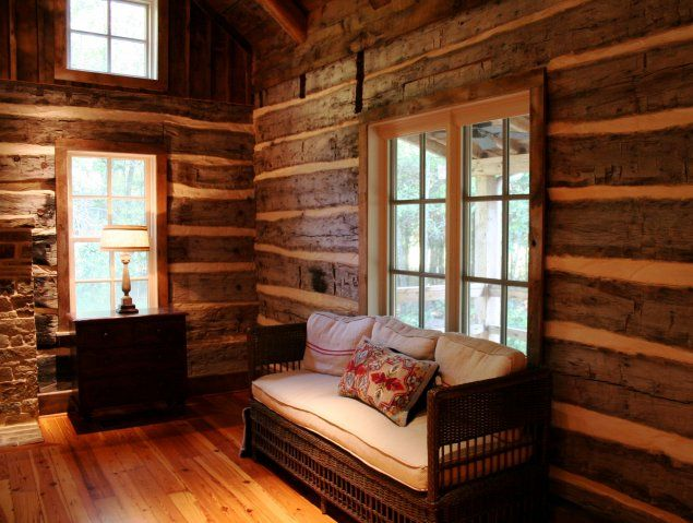 Bedroom In Historic Log Home Restoration By Chambers