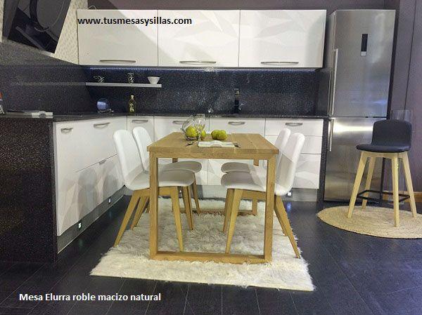 mesa en madera maciza de roble con encimera y patas de estilo industrial moderno