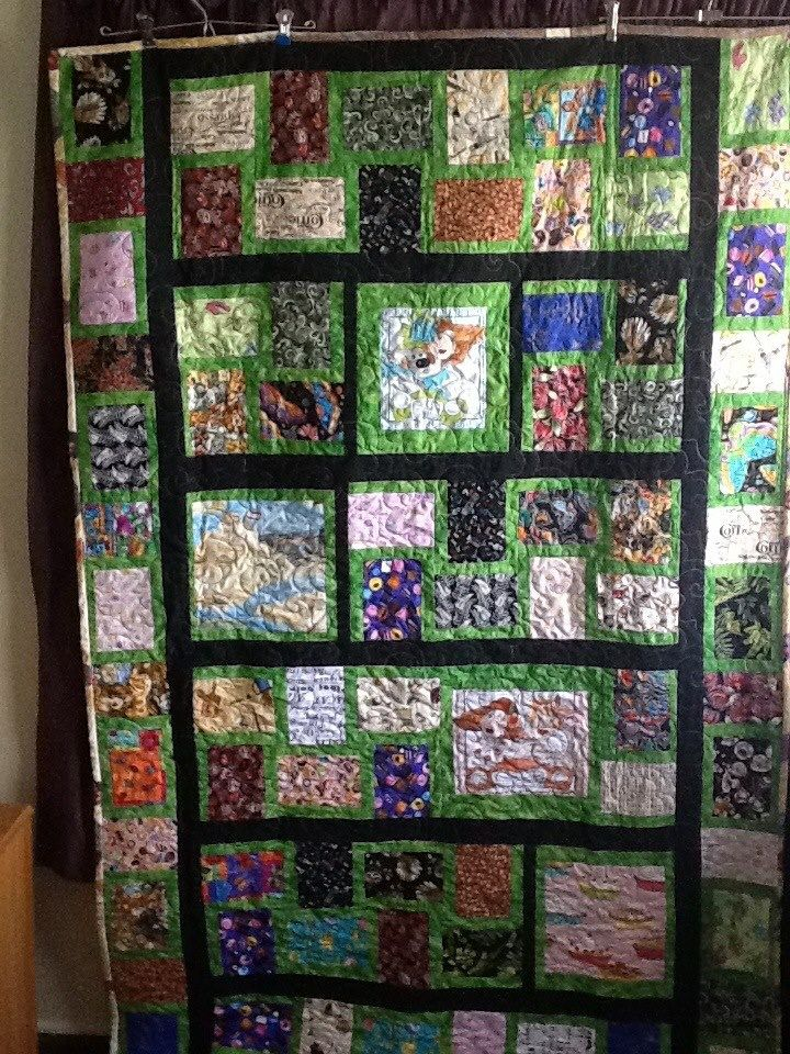 Carries favourite things. Cancer Quilt.