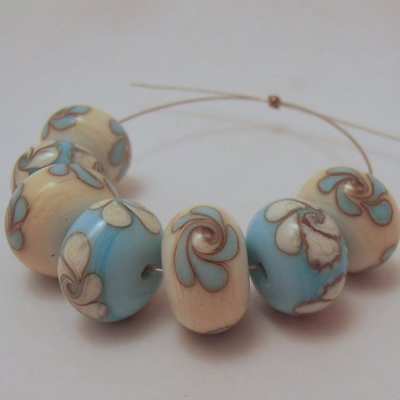 Swirled Flower Glass Beads Ivory and Turquoise  by ALittleTrinket, £6.00