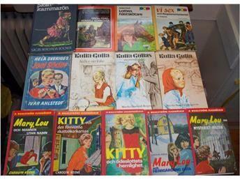 Barnböcker, ungdomsböcker, 13 st. Mary Lou, Kitty, Skattkammarön mm