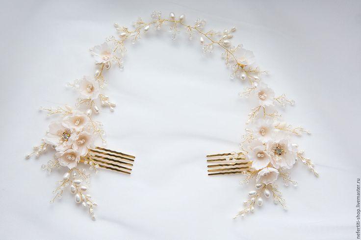 Купить Свадебный венок для прически - золотой, невесте, для прически неветы, образ невесты, свадебный образ