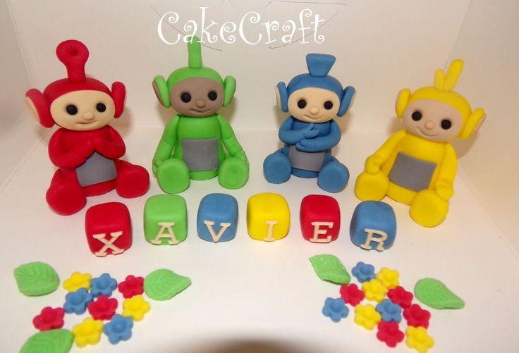 Teletubbies set of 4,Birthday Edible Handmade cake decorations topper,name block