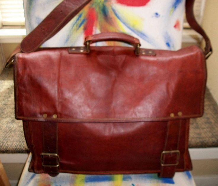 "Komal's Passion Leather 18"" Leather Mesenger, Laptop, Briefcase, Funky Retro Bag #KomalsPassionLeather #MessengerBriefcaseTrqavelLaptopBag"