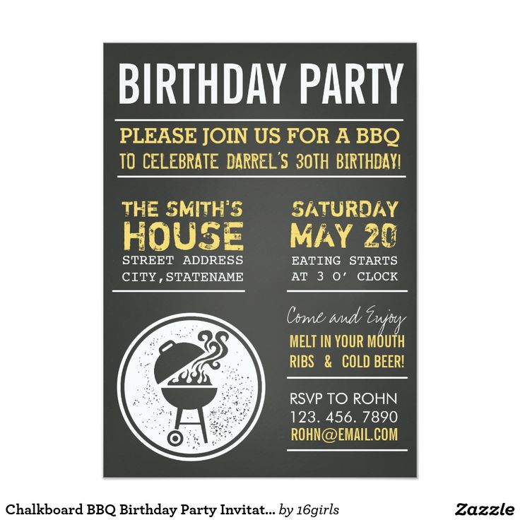 Tafel GRILLEN Geburtstags-Party Einladungen