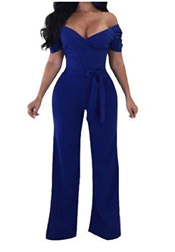 67164f652d7 Abetteric Women s Straight Trousers V Neck Off Shoulder High Waist Playsuit