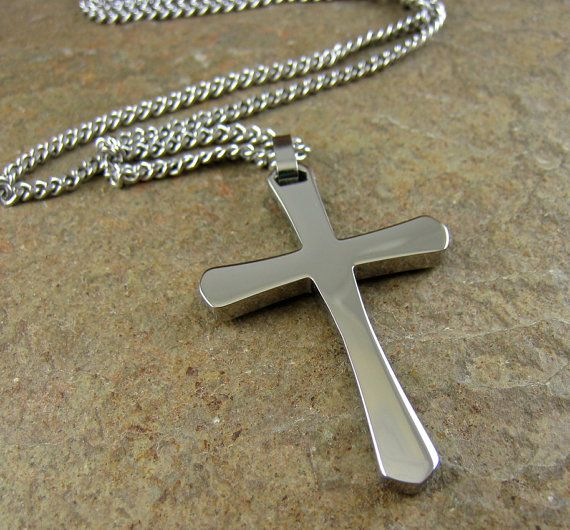 Silver Men's Cross Necklace Stainless Steel Cross by organikx