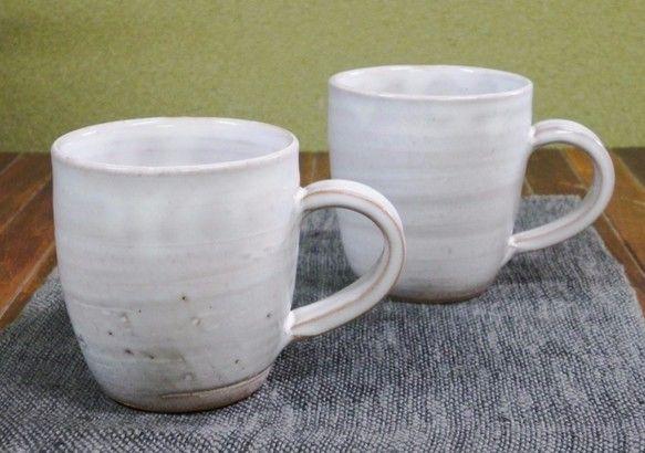マグカップ(白) グラス・カップ 土和窯(つちわがま) ハンドメイド通販・販売のCreema