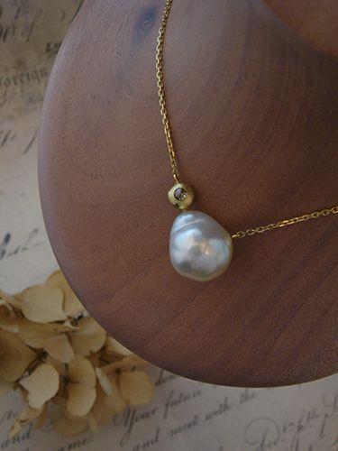 [Pearl Collection : 055] Necklace-K18YG/Pearl/Diamond