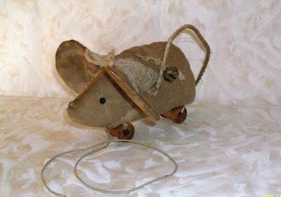 Primitive Mouse Pull Toy Pattern  402 by DriftwoodPrimitives, $4.50