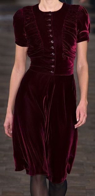 """Simple Deep Garnet Silk Velvet Dress via sylvie and clooney #fashion"" what a colour"