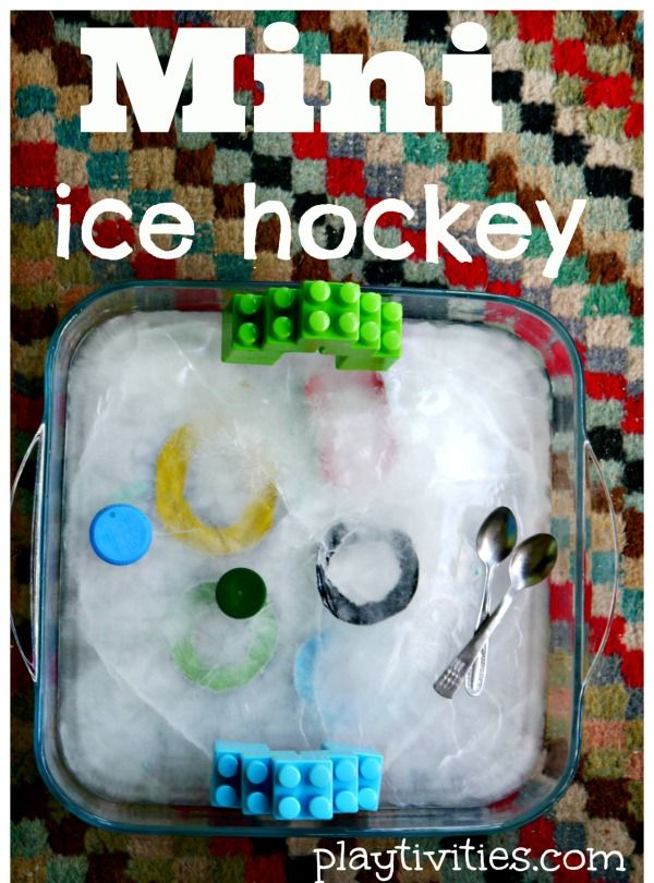 Ice play with DIY mini skating rink » Playtivities