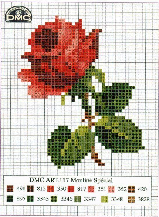 Rosa, vermelha, flor, ponto cruz
