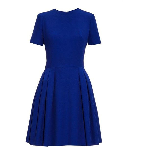 ALEXANDER MCQUEEN Leaf-crepe skater dress (121.495 RUB) ❤ liked on Polyvore featuring dresses, blue, skater dress, flared skirt, cobalt blue skater dress, leaf print dress and blue circle skirt