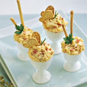Spicy Roasted Bell Pepper Pimiento Cheese  - love the egg cup setup!: Red Bell Peppers, Fun Recipes, Egg Cups, Pepper Cheese, Roasted Red, Appetizer, Pepper Pimiento, Spicy Roasted