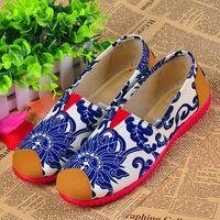2016 Весной новый Китайский старый Пекин женщина женщина синий и белый ткань обувь для ходьбы танца мягкой обуви синглов хлопка обувь