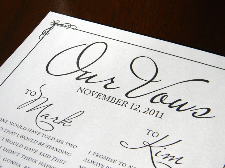 traditional 1-year anniversary gift? A print of your vows is a gift ...