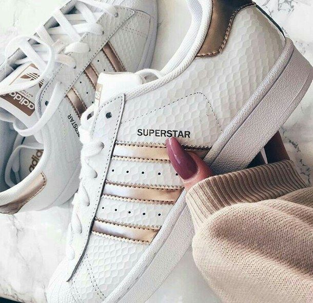 adidas superstar white gold glitter shell toe womens trainers