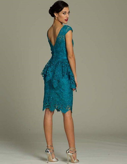 jmajor short dresses for mother of bride | Beautiful knee length blue-green lace dress for mother of the bride ...