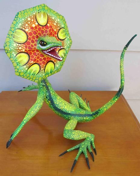 Alebrijes lizard ? Yes! Alebrijes are brightly colored Mexican folk art sculptures of fantastical creatures. The first alebrijes, along with use of the term, originated with Pedro Linares.