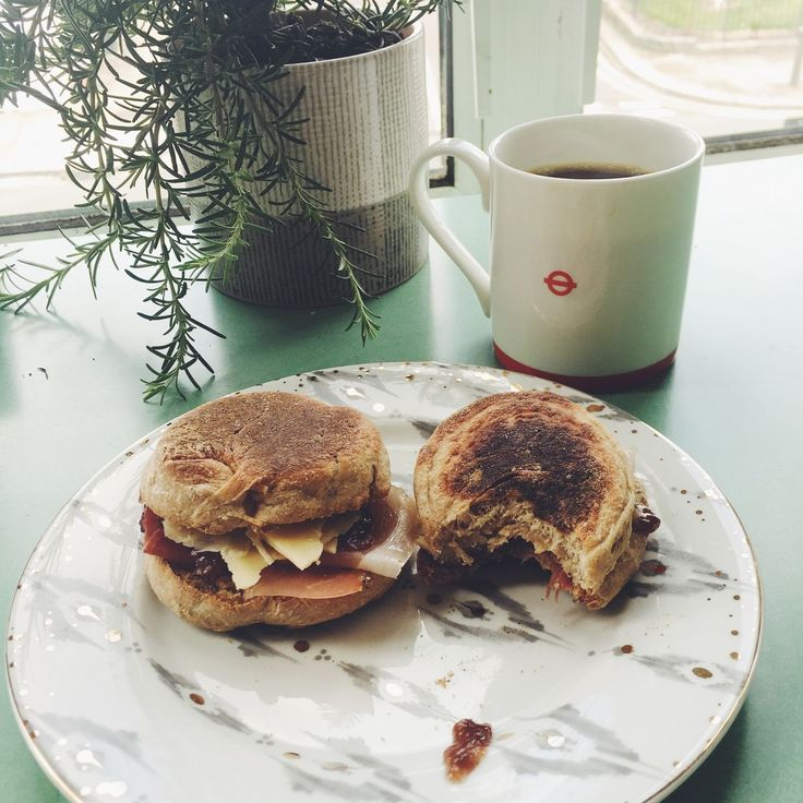 Mature English cheddar, prosciutto, fig chutney on warm homemade English muffins. Perfect brunch.