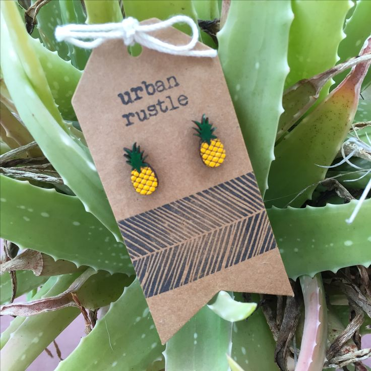 Pineapple wooden stud earrings