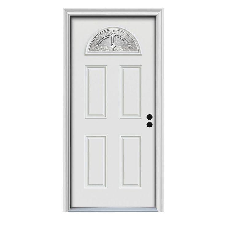 Jeld Wen 32 In X 80 In Passage Fan Lite Primed Premium Steel Prehung Front Door With