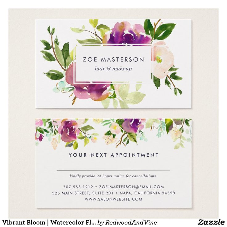 Vibrant Bloom | Watercolor Floral Appointment Card ad-Chic appointment cards feature your business name overlaid on a bouquet of vibrant watercolor flowers in violet purple and jasper green. Reverse side has space for your customer's next appointment on the back, along with your cancellation policy, address and contact information, topped by a matching floral border