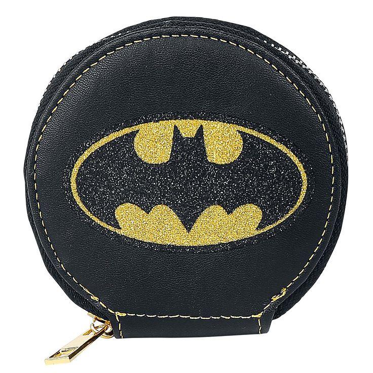 Portafoglio rotondo nero con logo di #Batman. Ø: 10 cm circa.