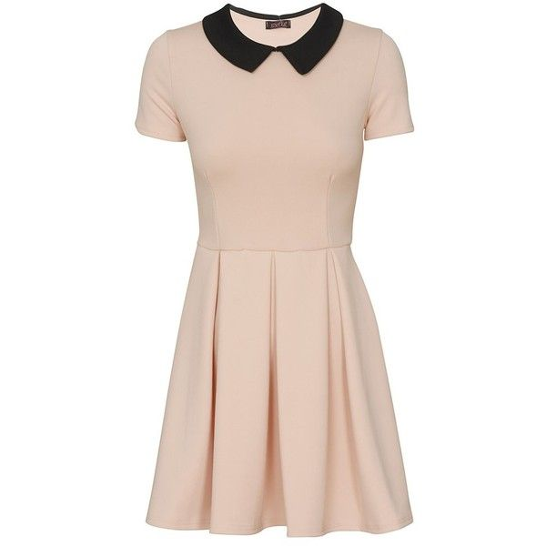 Evita Short Sleeve Collared Pleat Skater Dress in Dust Pink ($7.65) ❤ liked on Polyvore featuring dresses, pink pleated dress, pink skater dress, pink waist belt, pink collar dress y short sleeve pleated dress. This would be perfect with leggings!!