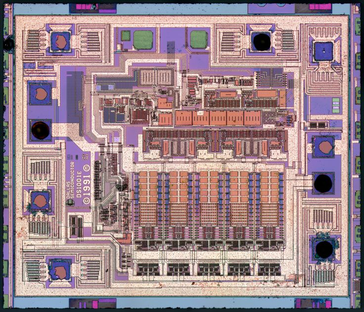 Dallas Semiconductor DS1000Z : weekend die-shot Dallas Semiconductor DS1000Z - 5 tap delay line. Die size 2074x1768 µm