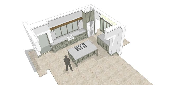 Kitchen design in cape Town, 3D rendering. Kitchen finished in hand painted supawood.