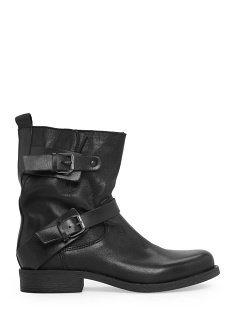 Boots en cuir avec liserés - Chaussures pour Femme | MANGO