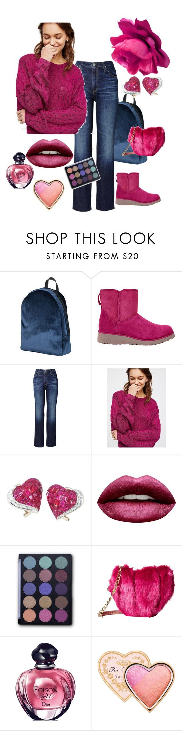 """""""Raspberry and Blues"""" by kindlefraud ❤ liked on Polyvore featuring George J. Love, UGG Australia, AG Adriano Goldschmied, Free People, La Fleur Jewels, Huda Beauty, FaceBase, Betsey Johnson, Christian Dior and Too Faced Cosmetics"""