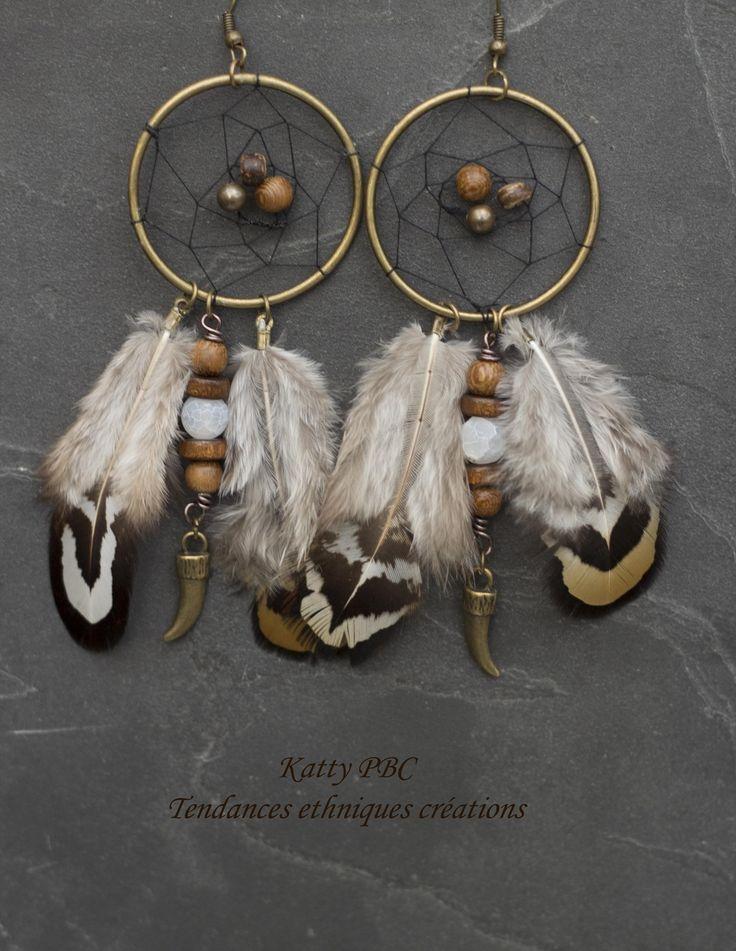"""Dreamcatcher boucles d'oreille """" Bena"""" - plumes, perles et bronze : Boucles d'oreille par tendances-ethniques-creations"""