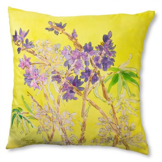 Hand Painted Pillows | Aseana Lounge Hand-Painted Silk Pillows